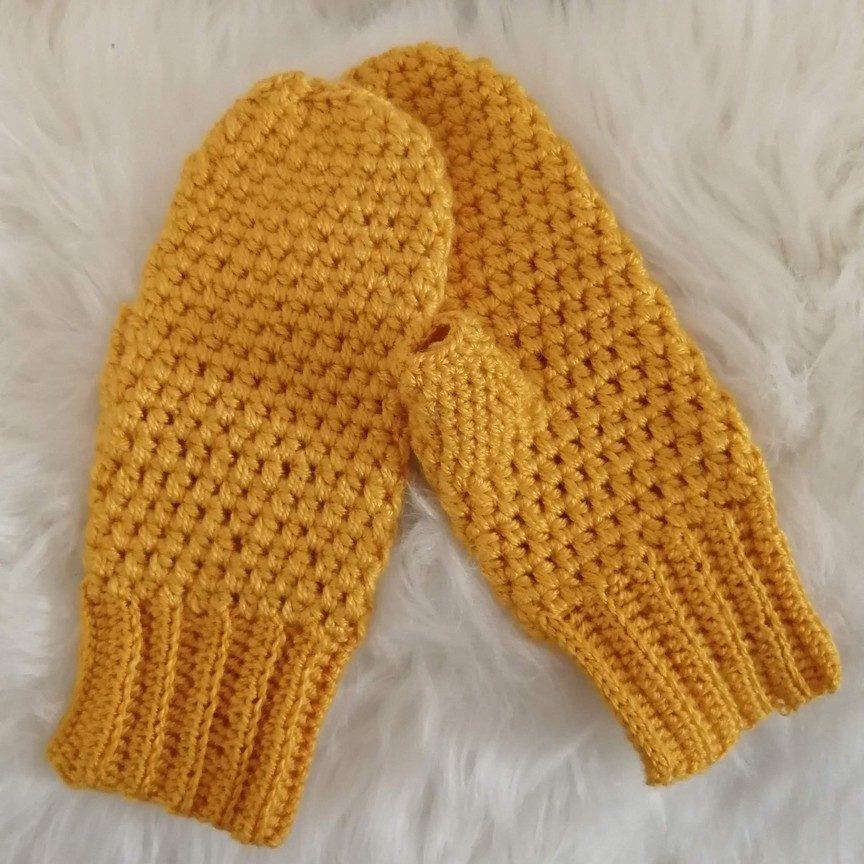 návod na háčkované rukavice - ukážka horčicových