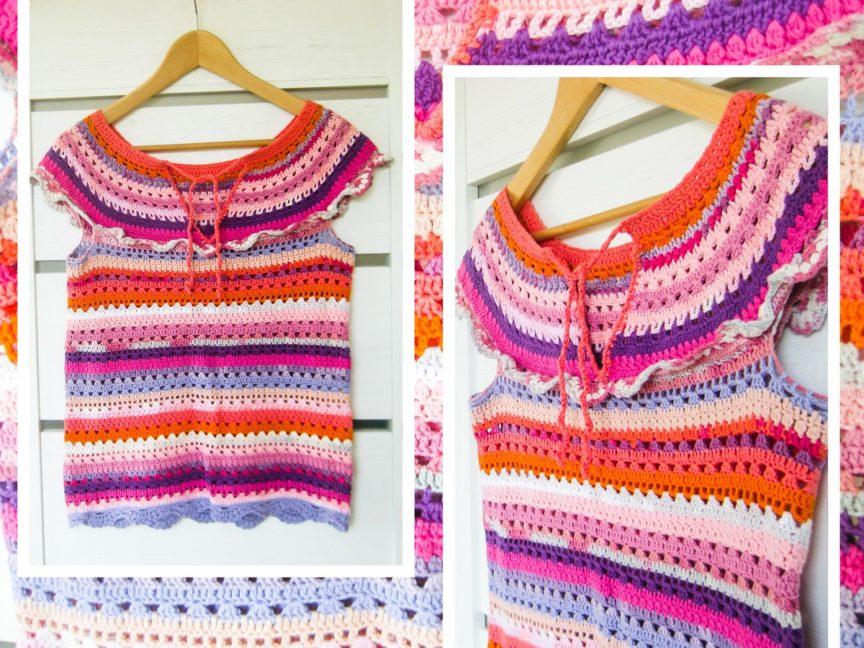 Háčkované tričko z priadzí Alize Bella a Alize Bella Batik. Ilustračný obrázok k článku Ako kombinovať farby Belly a Belly Batik